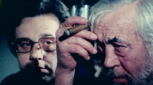 "Peter Bogdanovich, John Huston in Orson Wells' ""The Other Side Of The Wind"""
